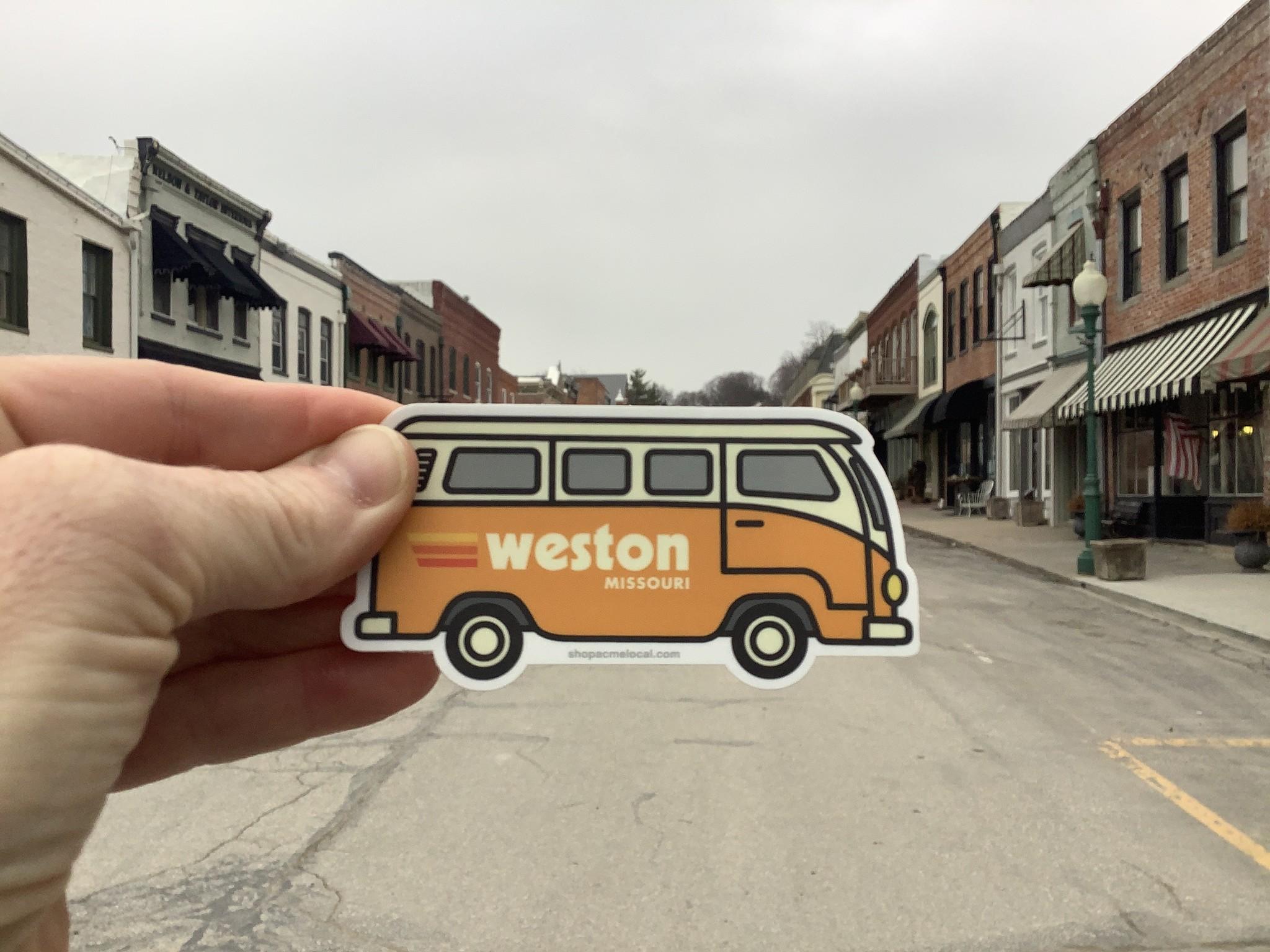 Orange VW Bus Weston MO Sticker