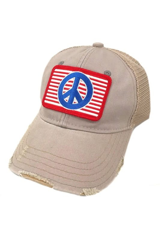 Red White & Blue Peace Ball Cap