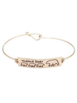 Mama Bear 3 Cub Gold Metal Bracelet