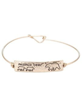 Mama Bear 2 Cub Gold Metal Bracelet