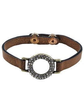 Rhinestone and Leather Bracelet Gold
