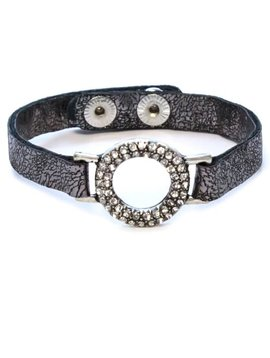 Rhinestone and Leather Bracelet Silver