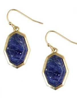 Blue and Gold Hexagon Earring
