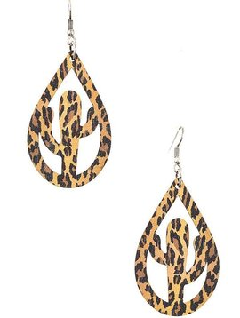 Animal Print Wooden Cactus Earring