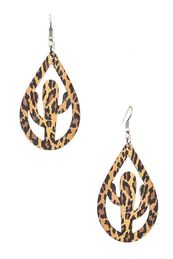 Animal Print Wooden Cactus Earring