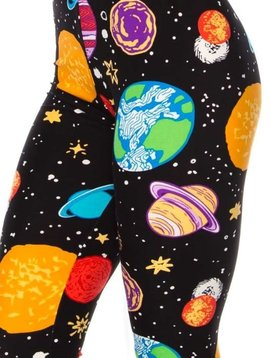CURVY Colorful Planet Elastic Band Leggings