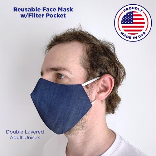 Denim Blue Face Mask with Filter Pocket