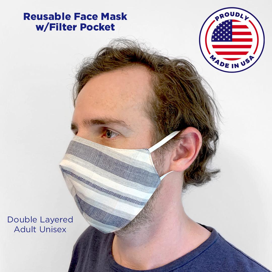 Denim Stripe Face Mask with Filter Pocket