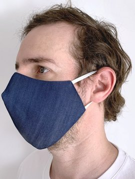 Denim Blue Face Mask with Filter Pocket