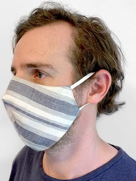 Denim Stripe Face Mask with Filter Pocket