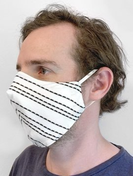 White + Black Stripe Face Mask with Filter Pocket