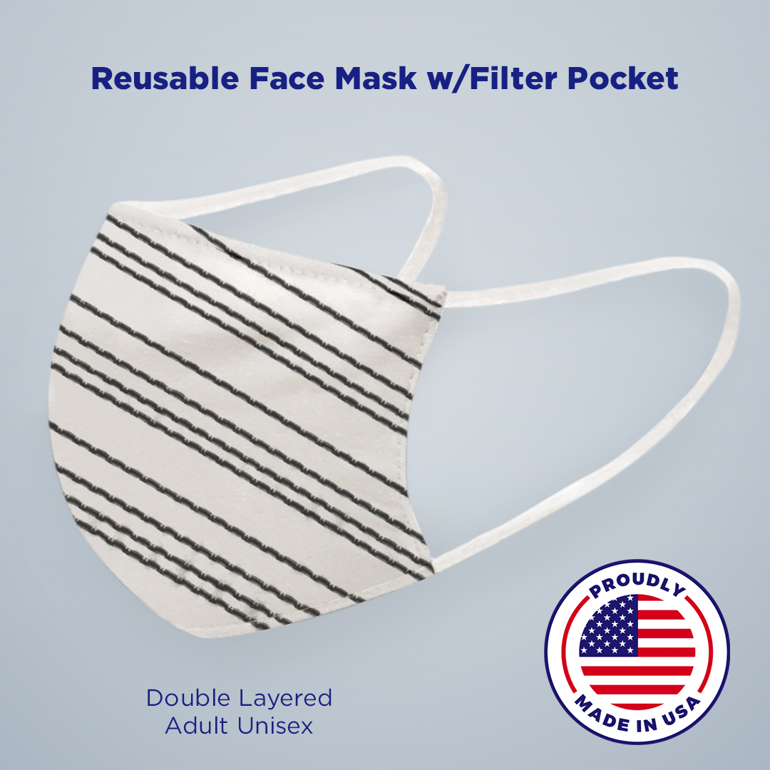 White + Black Stripe Face Mask with Filter Pocket