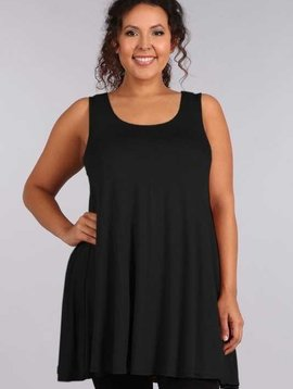 CURVY Sleeveless Tunic Dress in Black