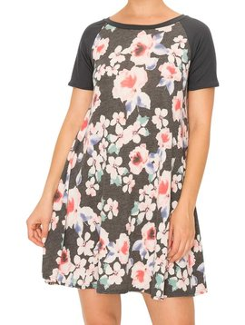 CURVY Charcoal Floral Pocket Dress