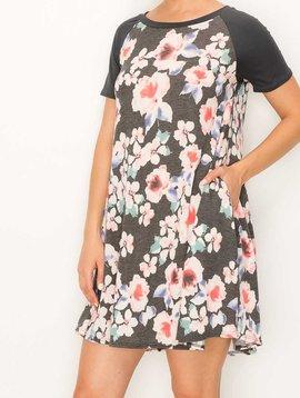Charcoal Floral Pocket Dress