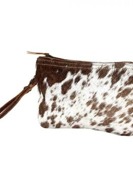 White & Brown Cowhide Clutch