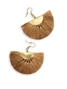 Golden Mushroom Tassel Earrings