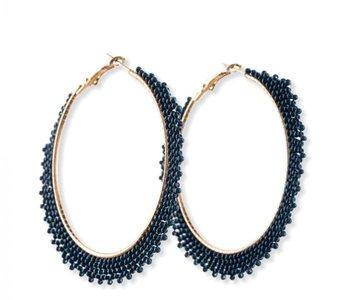 Blue Gala Hoop Earrings