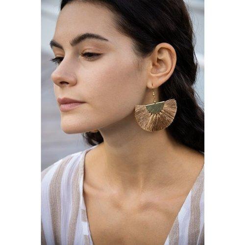Golden Mushroom Tassel Earrings