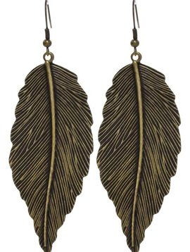 Large Leaf Gold Earring