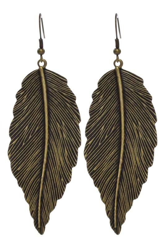 Large Leaf Gold Earring