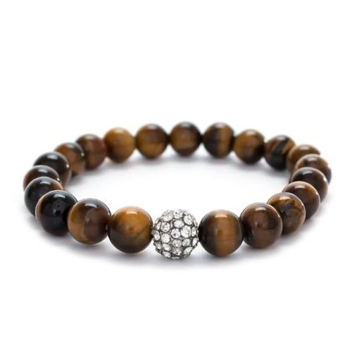 Tiger Eye & Rhinestone Stretch Bracelet