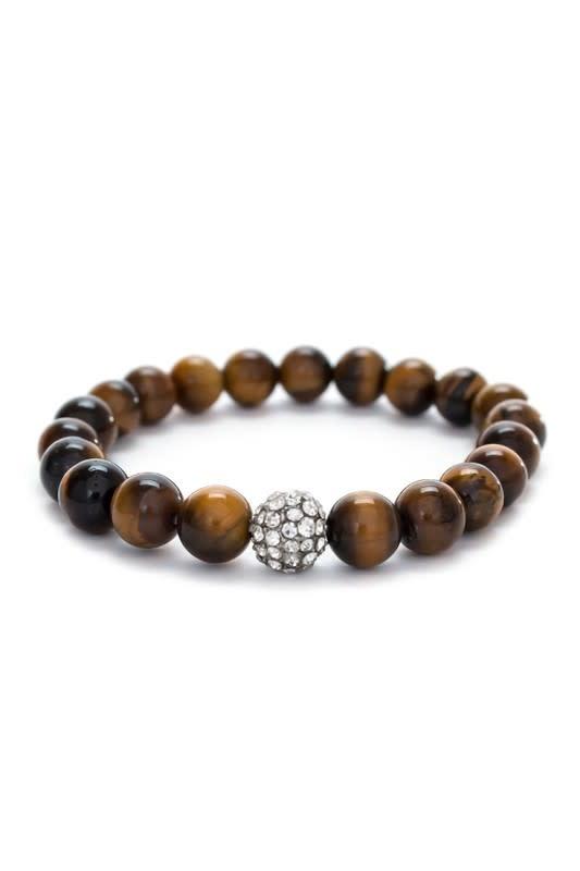 Tiger Eye & Rhinestone Stretch Bracelet