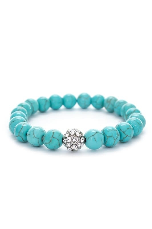 Turquoise & Rhinestone Stretch Bracelet
