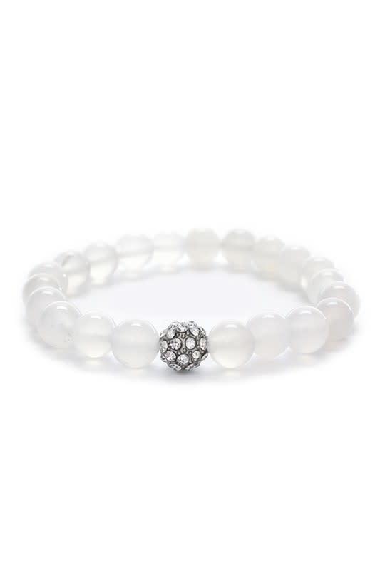 White Bead & Rhinestone Stretch Bracelet