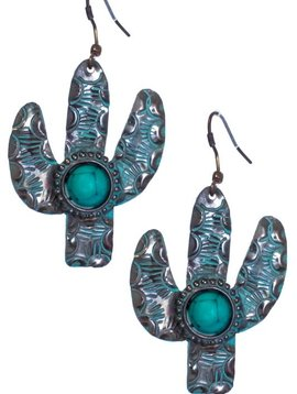 Stamped Metal Cactus Earring Patina