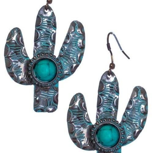 Stamped Metal Cactus Earring Patina