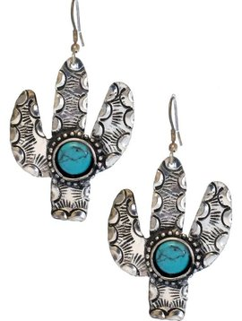 Stamped Metal Cactus Earring Silver