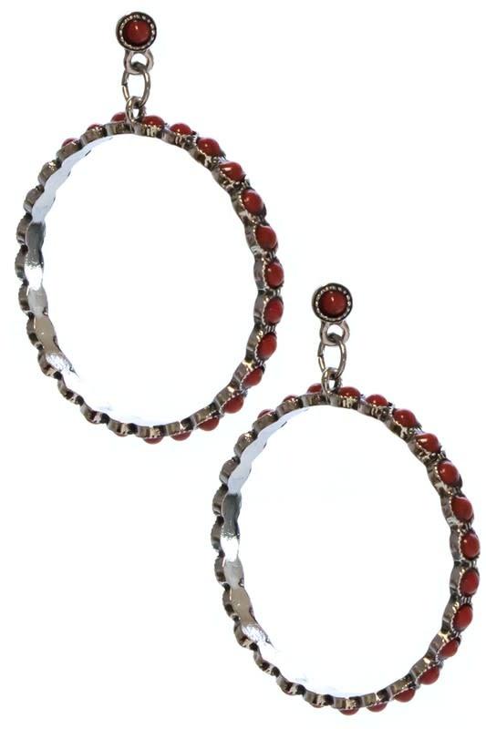 Red Stone Hoop Earring