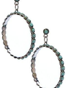 Turquoise Stone Hoop Earring