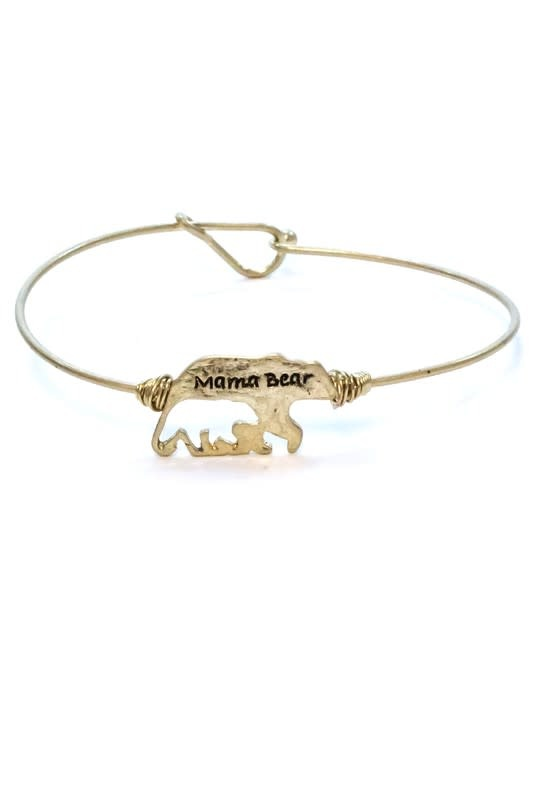Mama Bear Cut Out Bracelet Gold