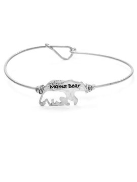 Mama Bear Cut Out Bracelet Silver