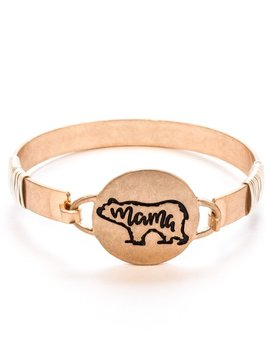 Mama Bear Bangle Bracelet Gold