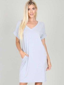 Rolled Sleeve V Neck Dress