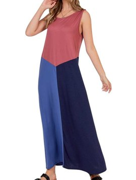 CURVY Sleeveless Color Block Maxi