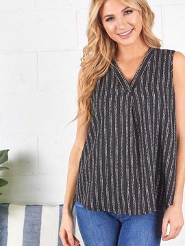 Black & White Stripe Sleeveless  V Neck Top