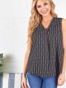 SALE: Black & White Stripe Sleeveless  V Neck Top