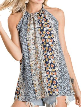 Mix Print Challis Halter Top