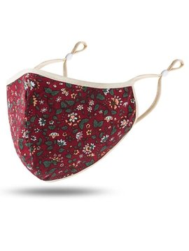 Burgundy Floral Cotton Mask