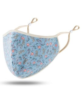 Light Blue Floral Cotton Mask
