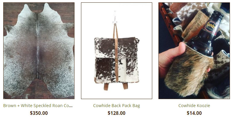 Cowhide Rugs, bags and Accessories from Cactus Creek in WEston MO