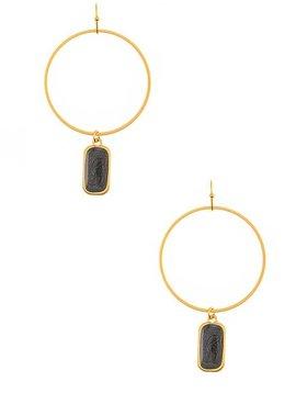 Hoop with Black Gemstone Dangle Earring