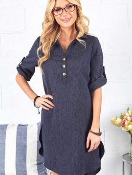 Navy V Neck Shirt Dress