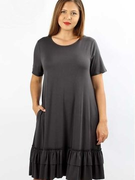 CURVY Gray Ruffle Hem Dress