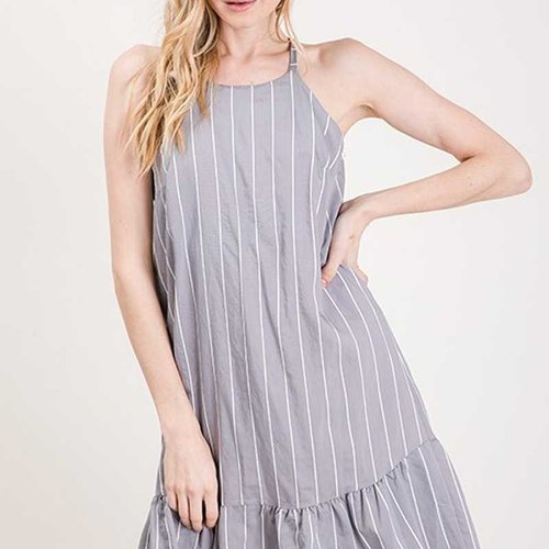 Gray Stripe Racer Back Dress