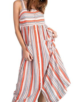 Coral Stripe Rayon Gauze Button Down Dress